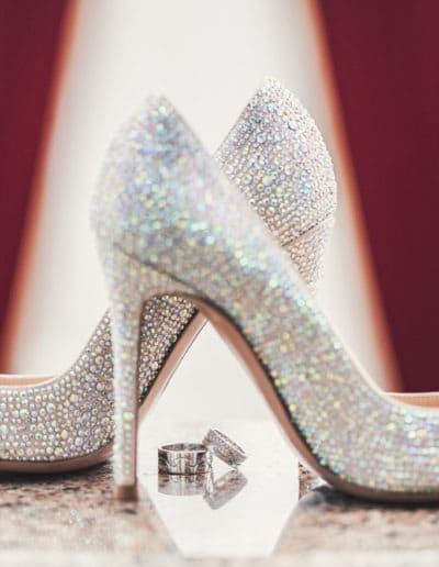 Wedding-ring and women shoes