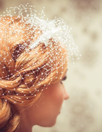 Bride with wedding with vintage hair net