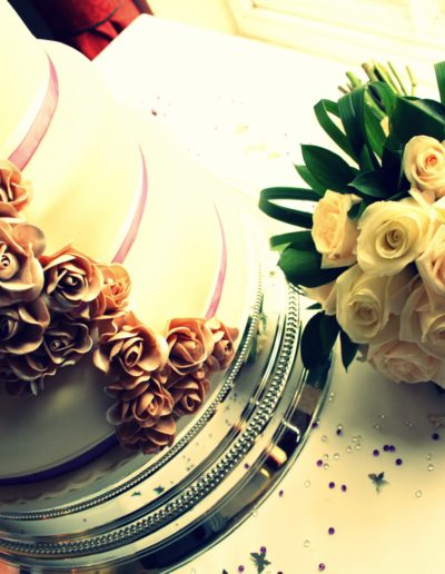 Tradional and Classic Wedding Cake and Flower Bouquet
