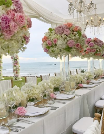 outdoor wedding table with flowers on table