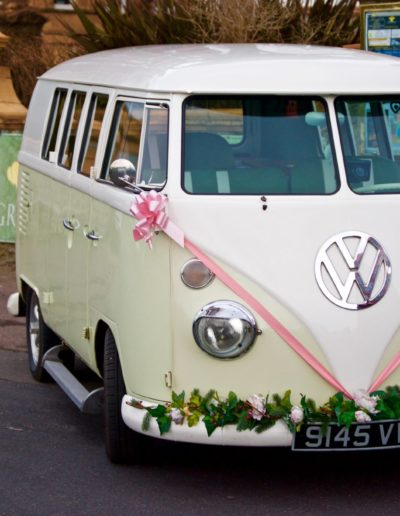 Volkswagen van wedding outside venue