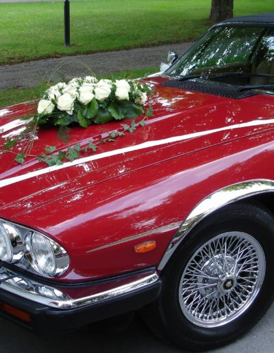 Vintage Sports Red Wedding Car
